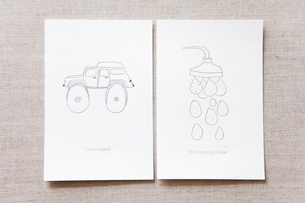 Voor iedereen die in IJsland is geweest zijn ze heel herkenbaar; de illustraties van de Zwitserse Karin Kurzmeyer. Ze heeft gestudeerd aan de aan de Academie van Beeldende Kunsten in Reykjavik en samen met medestudent Piret Uustal uit Estland, hebben ze vastgelegd wat zij opvallend vonden tijdens hun verblijf